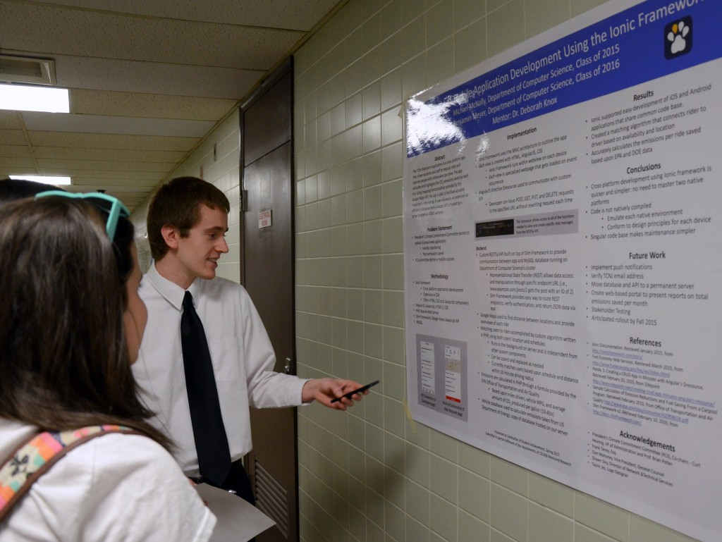 Shown: Ben Meyer (Class of 2016) presents research from development of the TCNJ Rideshare app.